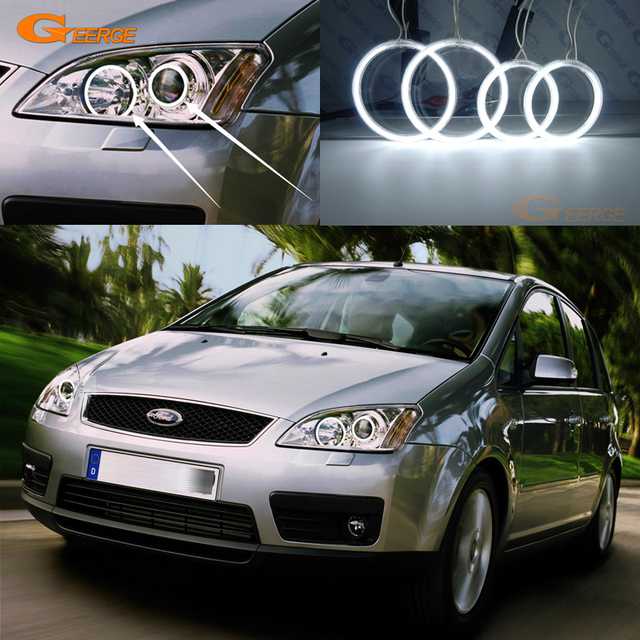 for ford focus c max 2003 2004 2005 2006 2007 xenon headlight excellent angel eyes ultra bright. Black Bedroom Furniture Sets. Home Design Ideas