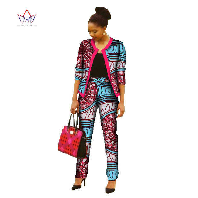 BRW 2017 New Autumn Africa Pant Sets for Women Dashiki Crop Top and Pants Africa Clothing Bazin Plus Size African Clothing WY022