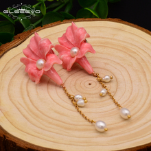 GLSEEVO 925 Sterling Silver Coral Pink Flower Drop Earrings For Women Natural Pearl Dangle Chain Piercing Earrings New GE0006