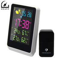 US Plug Digital Thermometer Weather Station Indoor Outdoor Forecast Clock Meter Sensor With LED Screen Date