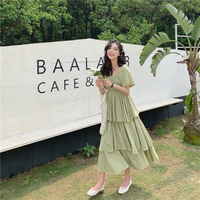 4da416b09bf708 Summer 2019 New Women S Clothes Solid Color High Waist Midi Cake Dress Korea  Bohemian Fairy