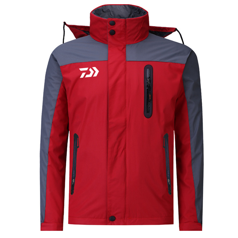 2018 Winter Fleece Keep Warm Fishing Clothes DAWA Waterproof Fishing Ski-Jacket Camping Windproof Fishing Jacket Fishing Hoodie side slit fleece drop shoulder pullover hoodie