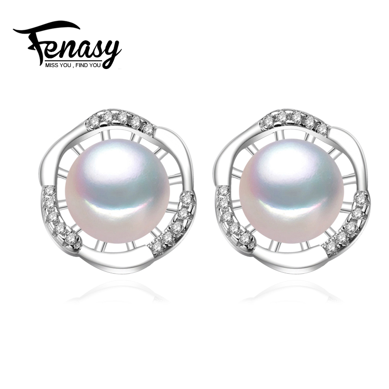 FENASY 100% natural Pearl earring, Pearl with 925 Sterling Silver earrings,Birthday gift Jewelry Women fashion earrings,E012