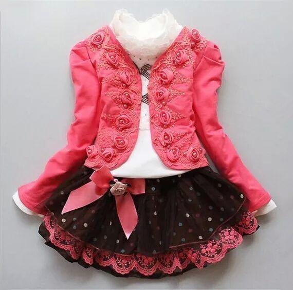 Girls' 3 piece suit  Autumn and winter Children's leisure coat + flower shirt + Lace Skirt Suit