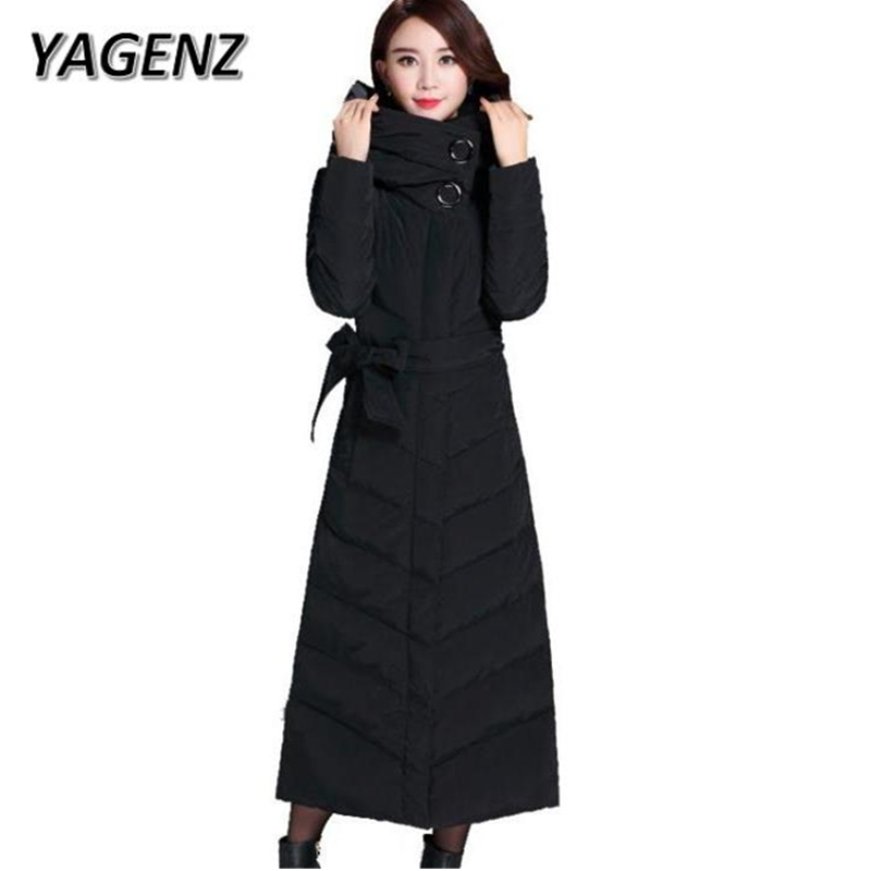 YAGENZ 2017 Women Winter Coats Elegant Slim Hooded Long Overcoats High Quality White Duck Down Warm Female Jacket Plus size 3XL