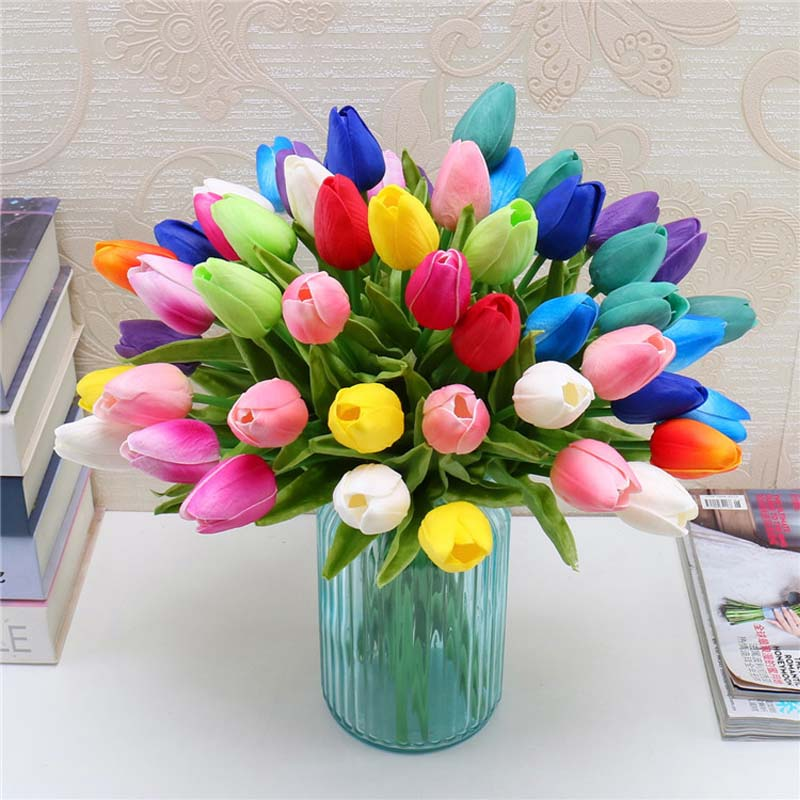 Fashion 31pcs/lot PU Mini Tulip Flower Real Touch Wedding Bouquet Artificial Flowers for Exhibition Home Party Decoration