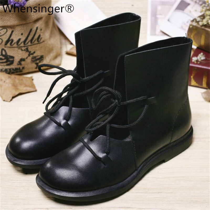 Whensinger - 2018 Women Shoes Female Patent Leather Fashion Boots Solid Lace-Up Handmade Vintage Elegant 7889 women s fashion solid sleeveless lace up front bodysuit