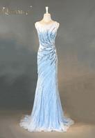 QILAMCA Luxury Evening Dresses abendkleider Beaded Bling Bling Blue Prom Dress Rhinestones Tulle Mermaid Party Gown 2018