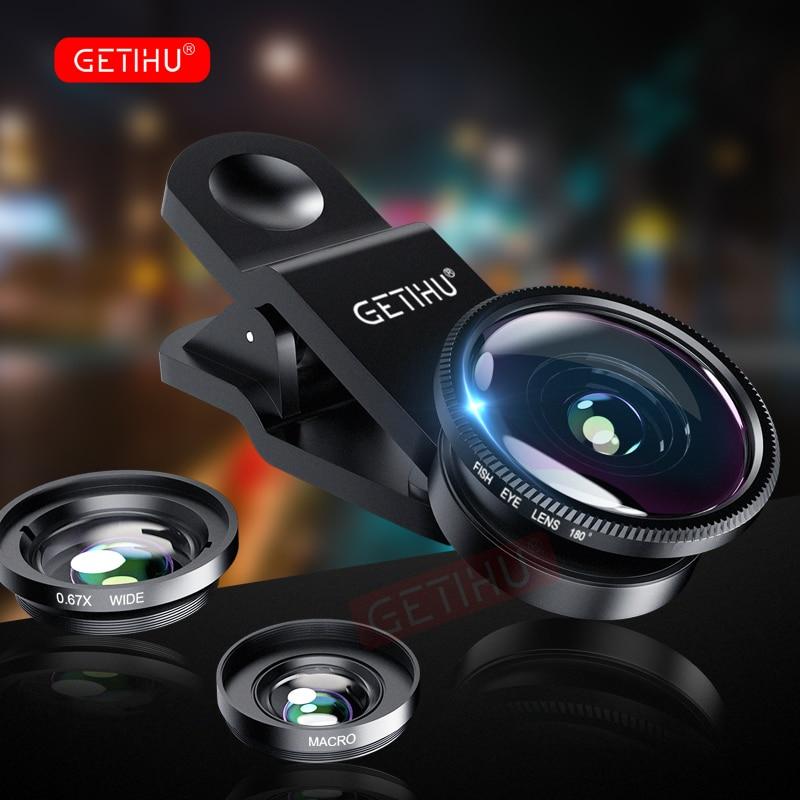 GETIHU אוניברסלי 3in1 רחב זווית מאקרו Fisheye עדשת מצלמה נייד טלפון עדשות עין דג Lentes עבור iPhone Smartphone אבזרים