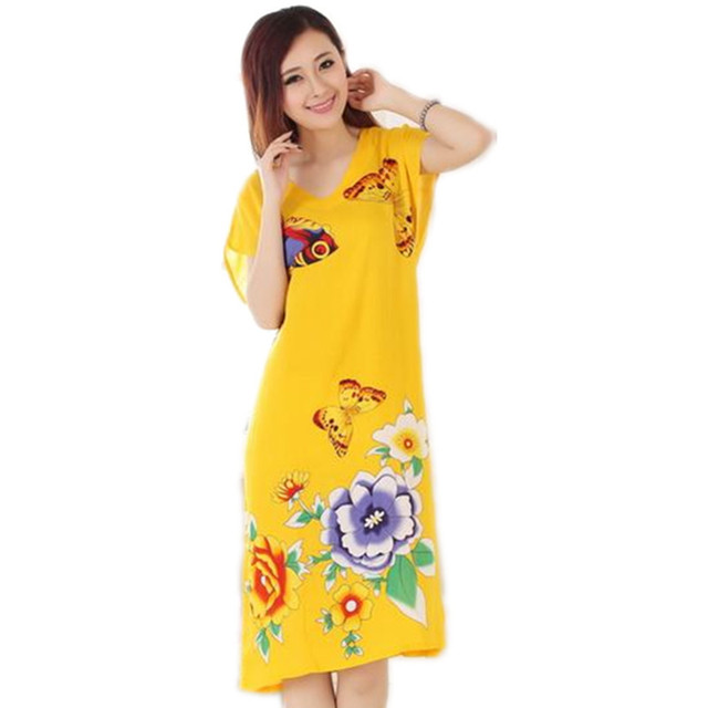 New Arrival Amarelo Verão da Senhora de Manga Curta Camisola de Algodão Estilo Chinês Robe Bath Vestido Flor Sleepwear Um Tamanho T068