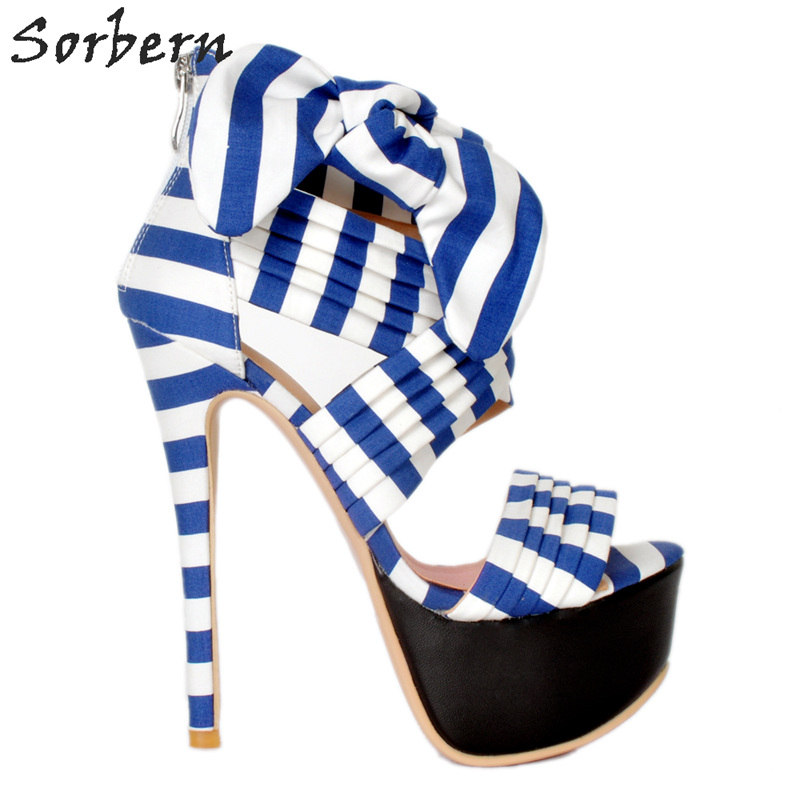 Здесь продается  Sorbern Blue And White Bow Platform Sandals High Heels Open Toe Custom High Heels 16Cm Ladies Heels Size 41 Shoes Size 34-48  Обувь