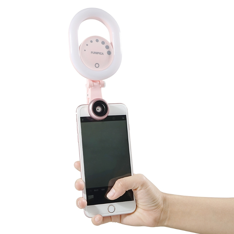 Universal 3-In-1 Beauty Flash LED Light 0.6X Wide Angle 15X Macro Lens Kit For Smart Phone