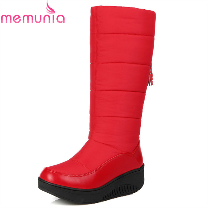 MEMUNIA black red winter women boots platform wedges snow boots comfortable simple mid calf boots Down