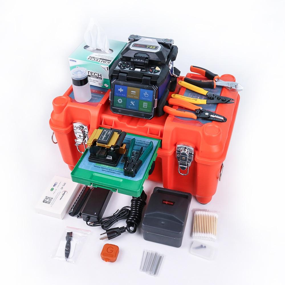 Orientek T45 maquina de fusão de fibra óptica emenda máquina splicer da fusão kit Fibre Optique