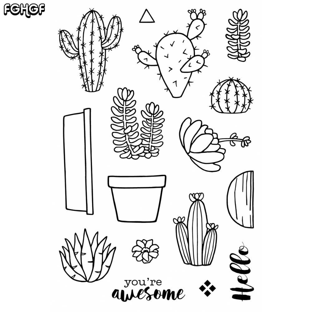 Cactus doodles Διαφανής σαφής σφραγίδα - Τέχνες, βιοτεχνίες και ράψιμο - Φωτογραφία 1