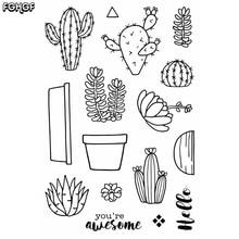 """""""Cactus"""" papuošalai """"Transparent Clear Silicone"""" antspaudas / antspaudas """"DIY scrapbooking"""" / nuotraukų albumui """"Decorative clear stamp B008"""""""
