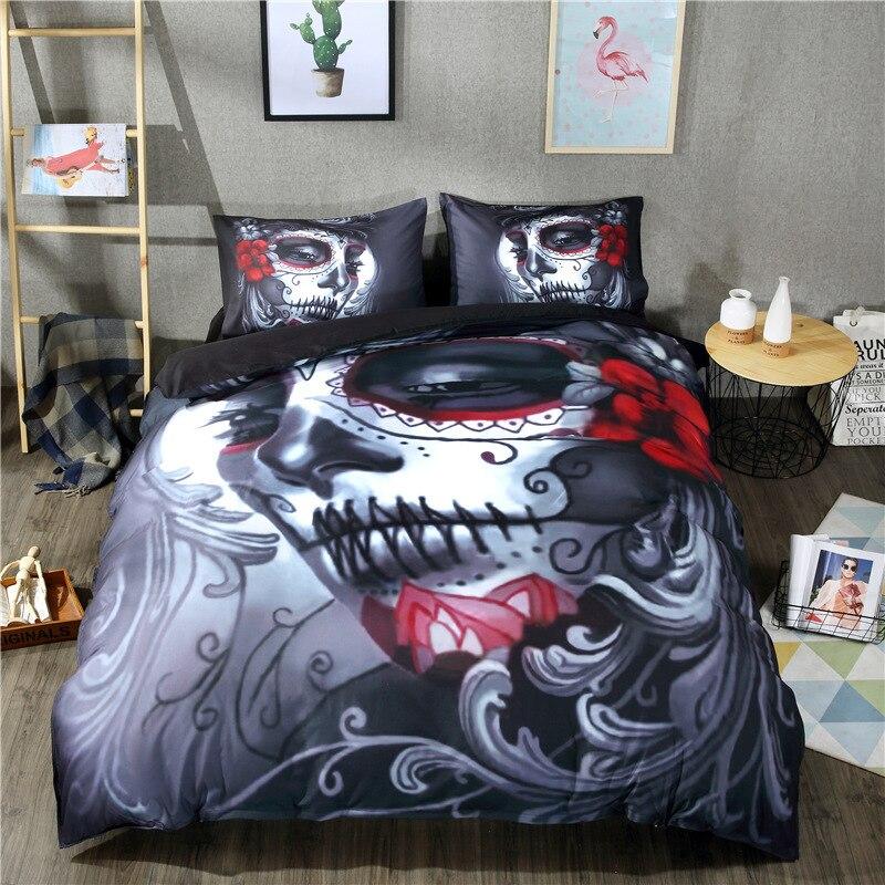 Luxury Halloween Bedding Set Black Skull Bed Sheet Woman Bed Linen Cotton Blend Flower Skull Duvet