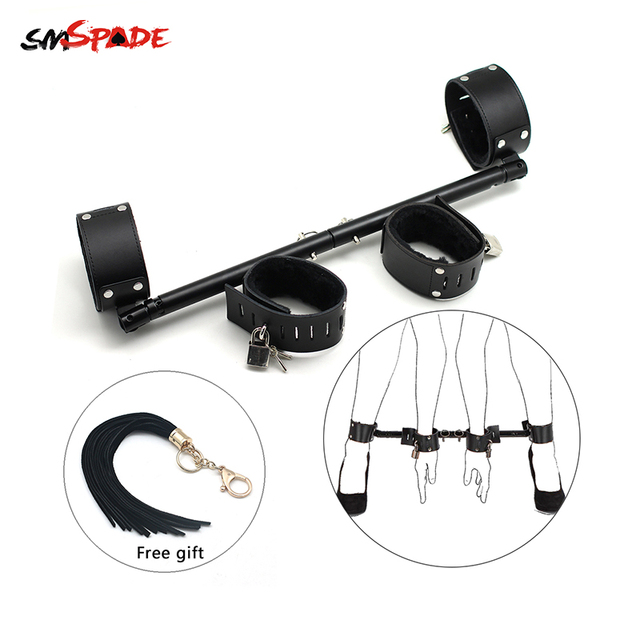 Smspade Metal Spreader Bar With 4 leather Cuffs Sex Tools For Woman Handcuffs Steel Bondage Cuffs Erotic Slave Sex Sex Toys Shop