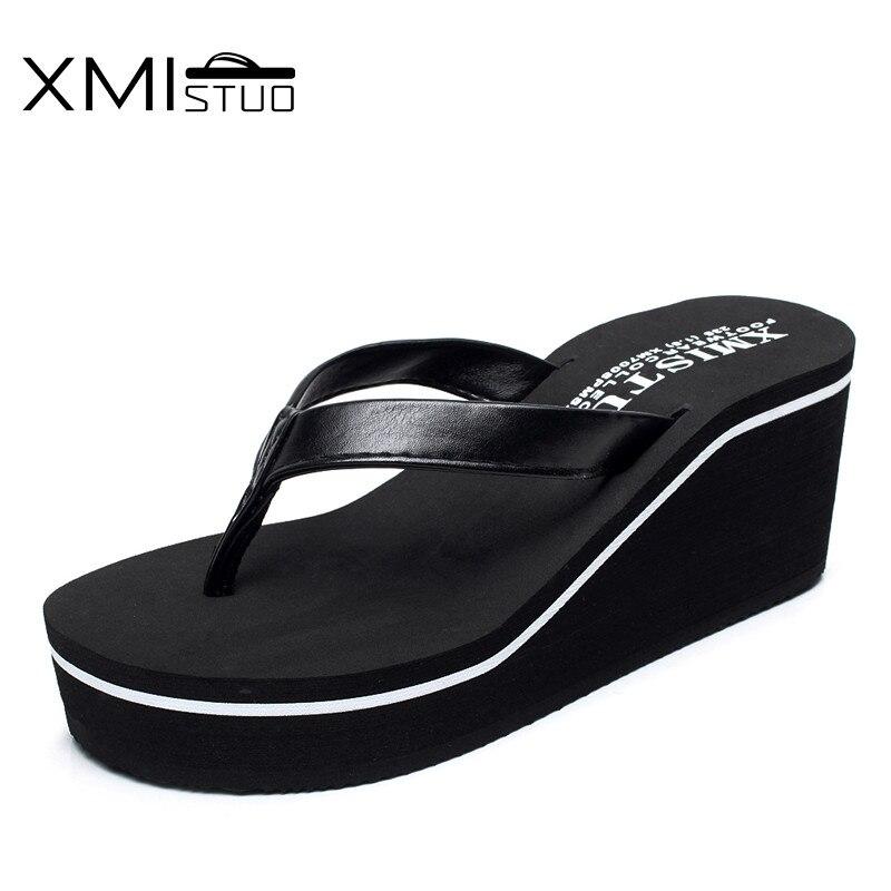 XMISTUO Forøg 6.7cm højkvalitets mode skridsikker tyk fladbundet skråning med stranden med fine læder dame tøfler
