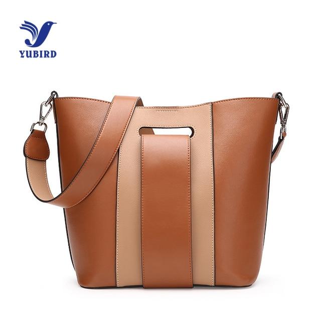 Yubird Tote Large Brown Bucket Bag Patchwork Womens Bags Wide Strap Designer Elegant Leather Cross