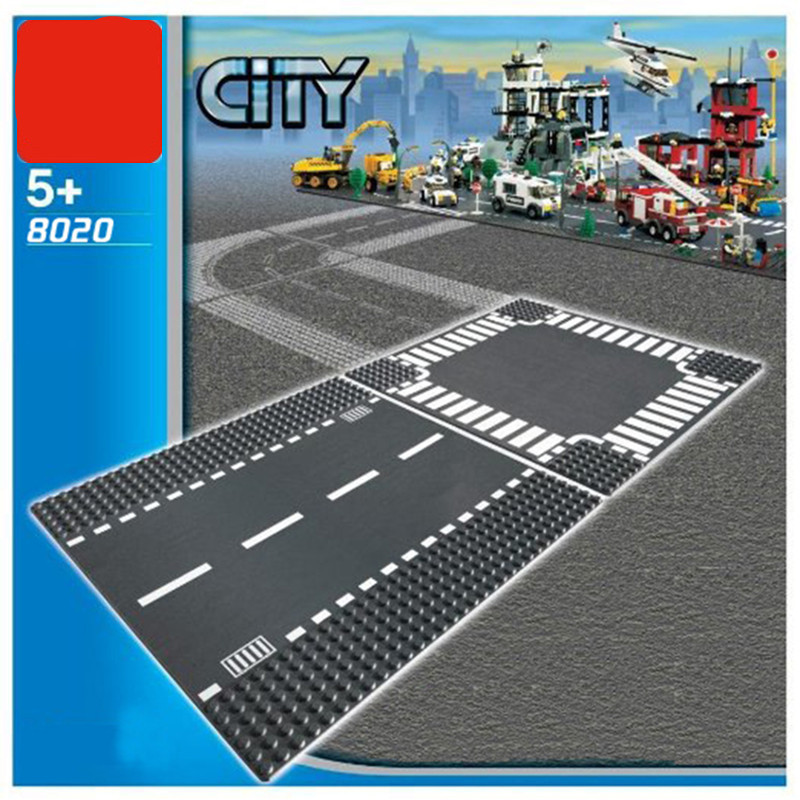 Diy Road Base Plate Straight Crossroad Building Blocks Parts Bricks Models City Street Baseplate Toys compatible with Legoingly bulk baby blocks big building blocks toys 2 2 2 4 4 8 8 8 plate compatible with duple diy toys baseplate