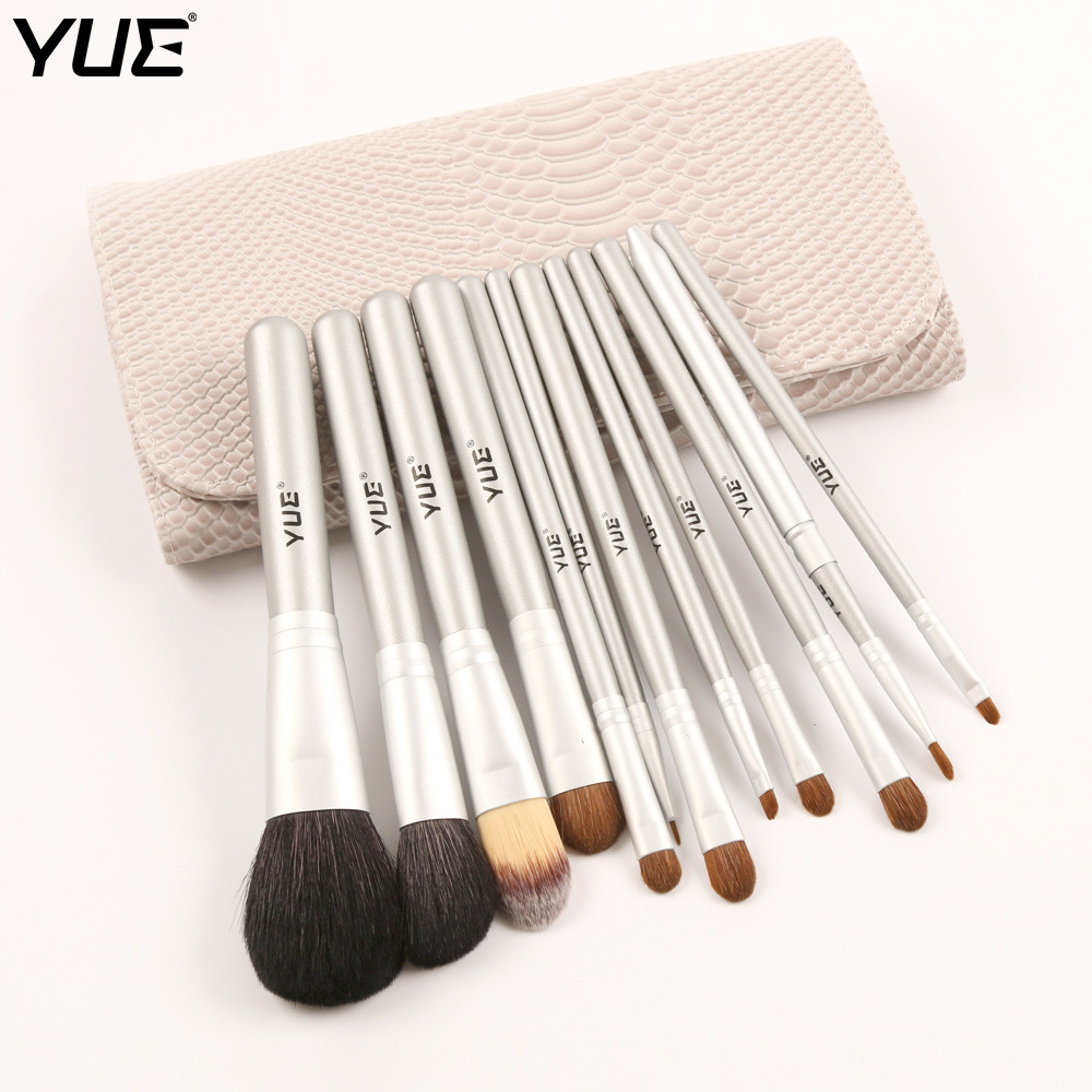 YUE Brand 12pcs Makeup Brush Set Powder Blush Foundation Eyeshadow Brushes With Snakeskin Bag