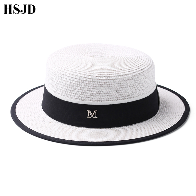 Image 3 - M Letter Ribbon Round Flat Top Straw beach hat Lady Boater sun caps M panama straw fedora women's travel Sun cap gorras-in Women's Sun Hats from Apparel Accessories