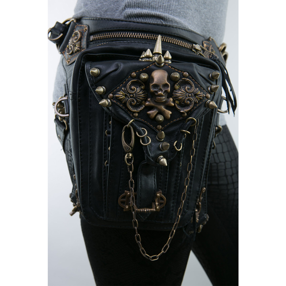 Fashion Steam Punk Skull Gothic Waist Leg Bag PU Leather Rivet Leg Thigh Holster Bag Personalized Phone Purse Messenger Bag punk rave daft punk rock armor jeans black rivet belt pattern pleated high waist trousers gothic disc flowers buttons pants