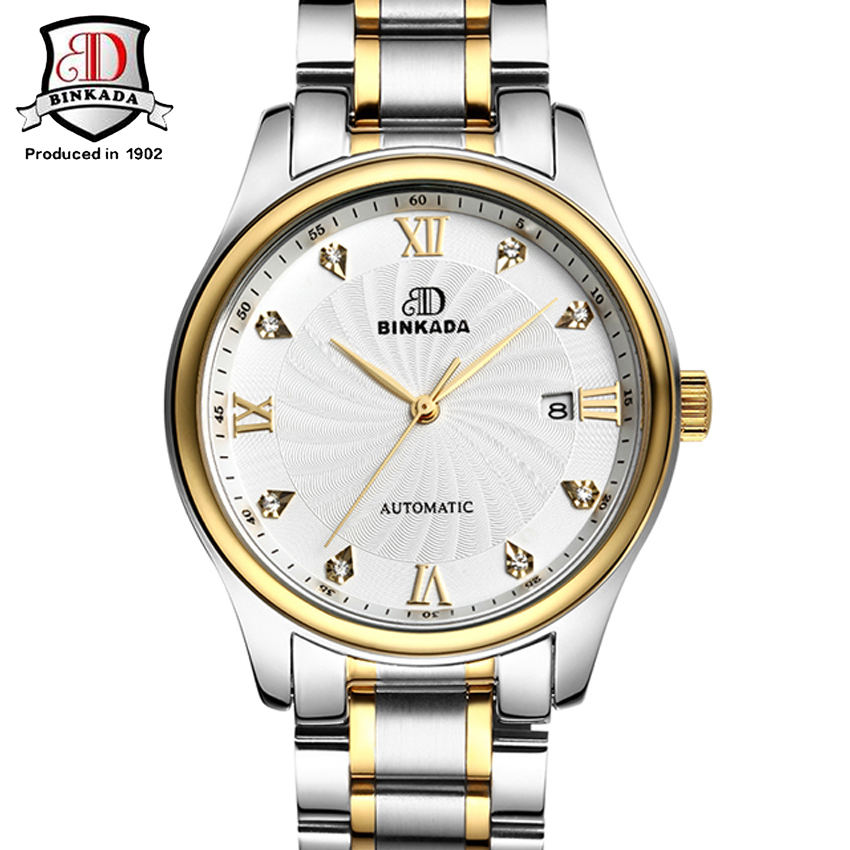 BINKADA Gold Men Luxury Mechanical Watch mens automatic watch Steel strap Transparent Montre Homme relogio masculino озонатор бытовой days of science and technology tm017 5g h