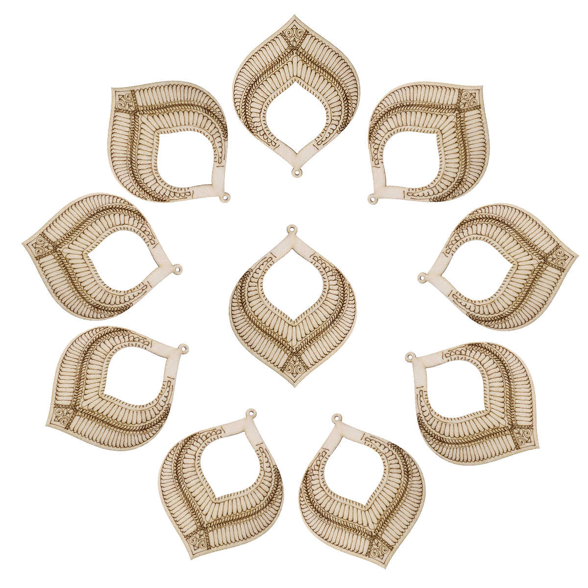 10Pcs Ethnic Style Eardrop Shaped Wood Cutout Chips For Wedding Party Decoration
