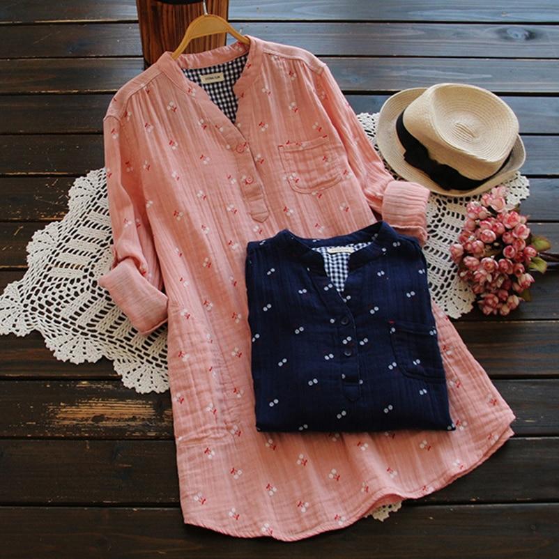 Femininas Printemps Vêtements Lâche Imprimé Manches blue Avec Sleeve blue D'été Poche Femme Coton 2019 blanc Longues Pink Shirts Femelle Short Casual Camisas pink Sleeve Sleeve Blouse white qfrcwpaqx