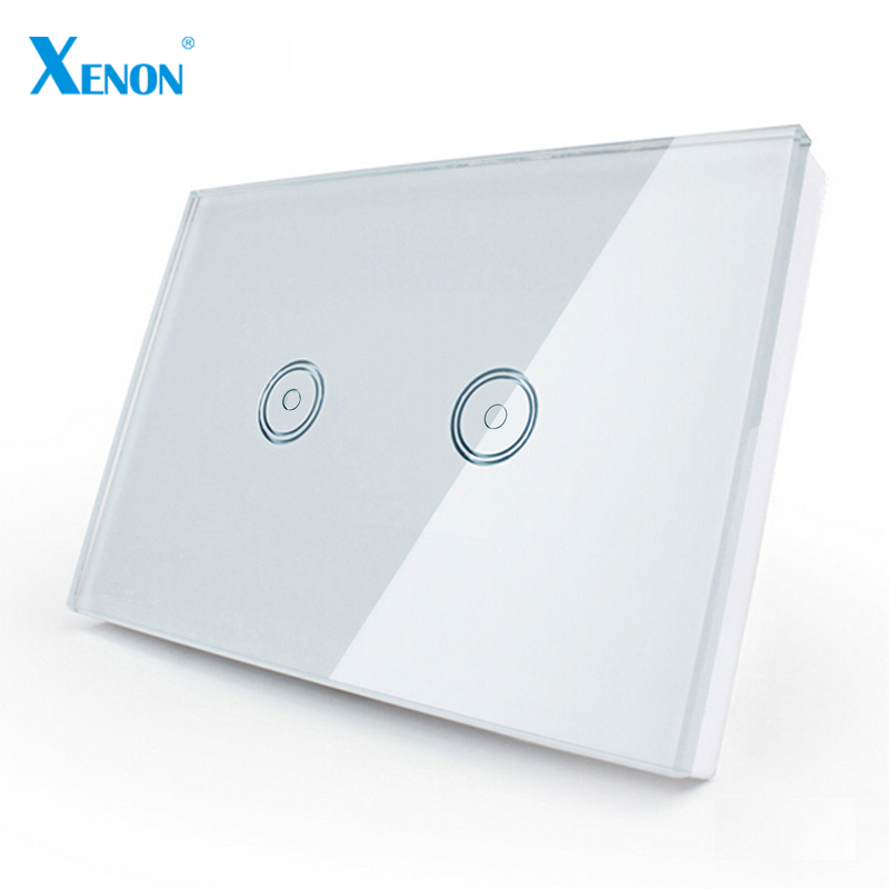 Manufacturer Xenon Smart Switch Work with Alexa Wi-Fi Wall Switch Glass Panel 2-gang Ivory White US Touch Light Switch panel manufacturer xenon wall switch 110 240v smart wi fi switch button glass panel 1 gang ivory white eu touch light switch panel