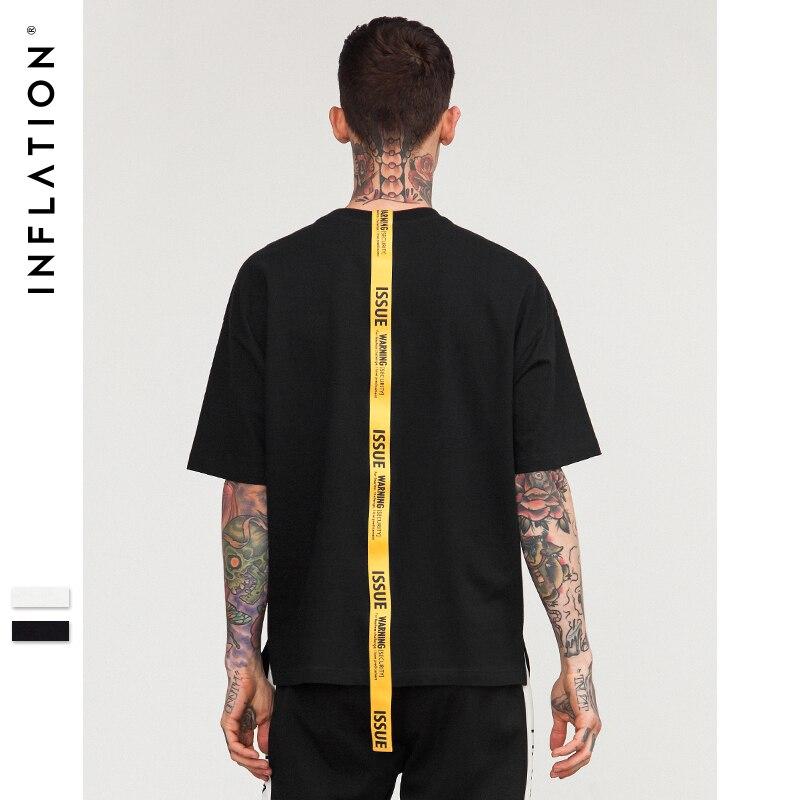 L'INFLATION Lettrage jaune long ruban marque t shirt hommes t-shirt à manches courtes tops & t-shirts 2018 ss nouveautés 8191 S