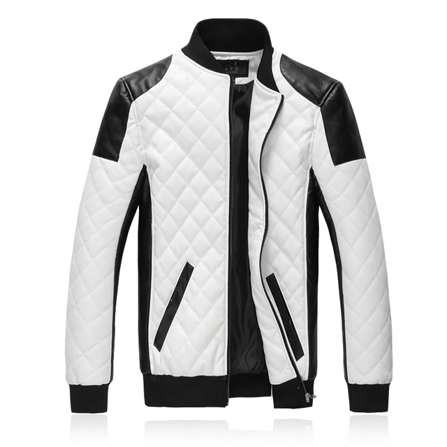 Spring New PU Leather Jacket Fashion Designer Spliced Mens Faux Leather Coats Stand Collar Slim Fit Motorcycle Jacket Men 5XL-M