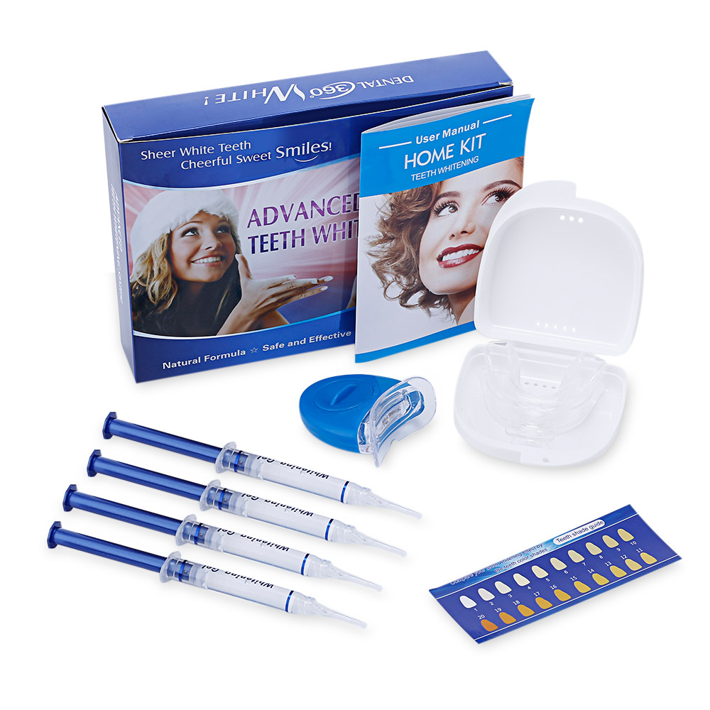 Teeth Whitening Kit With 4 Gel 2 Tray 1 Light For Oral Hygiene Dental Care Bleaching 4pcs promotion teeth whitening trays bleaching denture plastic mouth tooth molding bite tray disposable dental impression tray