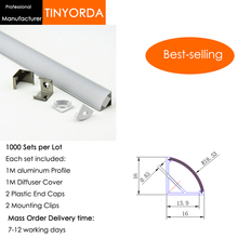 Tinyorda 1000Pcs (1M Length) Led Alu Profile  Channel Profil for 10mm LED Strip Light 1M channel