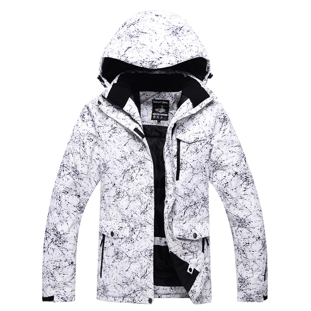 ARCTIC QUEEN Brand White doodle Ski Jackets Men Waterproof Windproof Warm  Winter Snowboard Jackets Outdoor Snow Skiing Clothes 1ad845a71