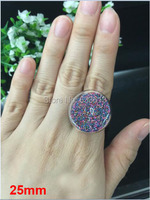 Free shipping 25mm Glass Bubble& Adjustable Ring set DIY Jewelry findings pendants 100set/lot (not include the filler)