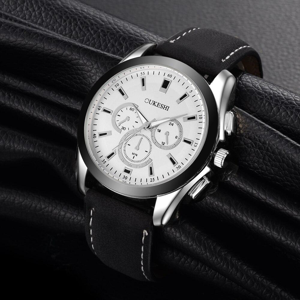 Oukeshi Top marca de lujo hombres reloj deporte de moda correa de cuero del reloj del cuarzo Militar boutique hombre relojes reloj