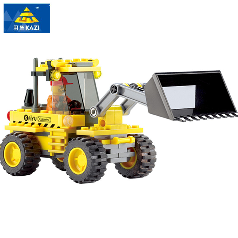 KAZI City Building Blocks Construction Bulldozer Building Block 117pcs Playmobil Enlighten Educational Toys For Children enlighten castle building block educational building blocks knight balista arrow model blocks playmobil toys for children