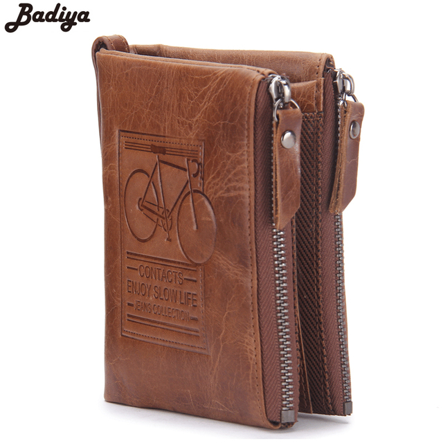 Famous Brand Men Genuine Crazy Horse Leather Short Wallet Vintage Card Holder Money Bag Double Zipper Bicycle Print Wallets
