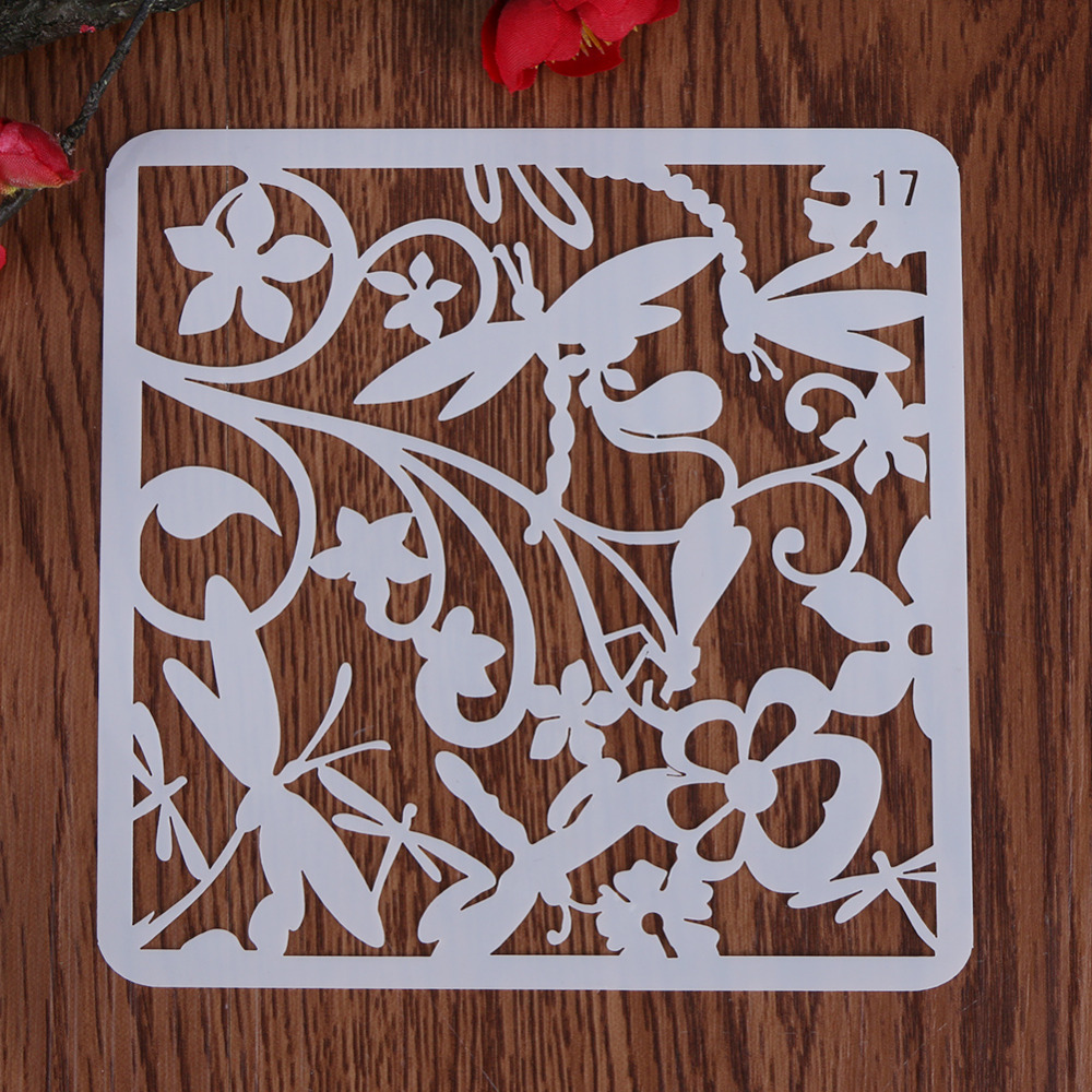 VODOOL DIY Craft Dragonfly Layering Plastic Stencils Template Scrapbooking Stamp Painting Stamps Fine Album Decorative  Paper