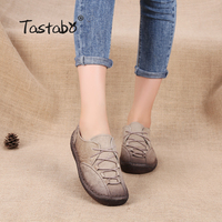 Tastabo Brand Breathable Flats Casual Women Shoes Soft Genuine Leather Shoes Lace Up Women Flats Soft