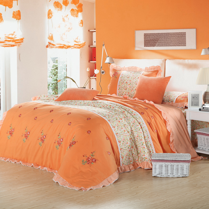country style pink green orange flower print embroidered s bedding set queen ruffle duvet