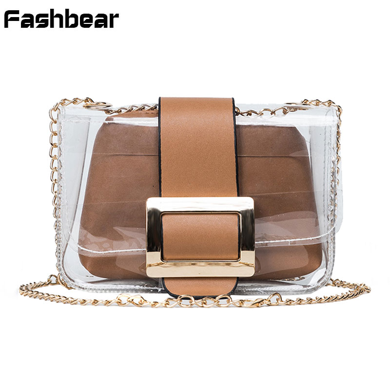 2017 Designer Handbags Women Messenger Bags Chain Sling Transparent Shoulder Bags Mini Flap