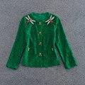 Короткие Куртки Мода Элегантный Зеленый Дамы Зоопарк Паук Алмаз Бисером Женщин 2017 Весна Кружева Куртка