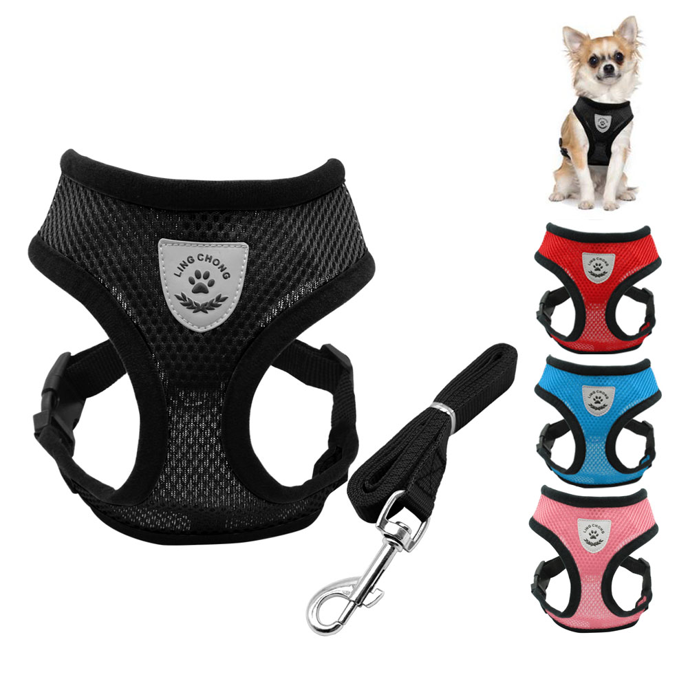 Mesh Pet Vest Harness and Leash Set Breathable Small Dog Puppy Cat Vest Harness Collar For Chihuahua Pug Bulldog Cat arnes perro
