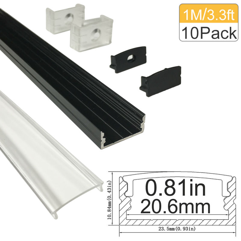 10m / lot 10x1m (3,3ft) Svart 20mm Aluminium LED-kanal för 5050 3528 LED Flex / Hard Strip Light Installations Aluminiumprofil