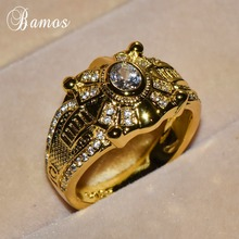 Bamos Gorgeous Gold Color Big Rings For Men Luxury Cubic Zir
