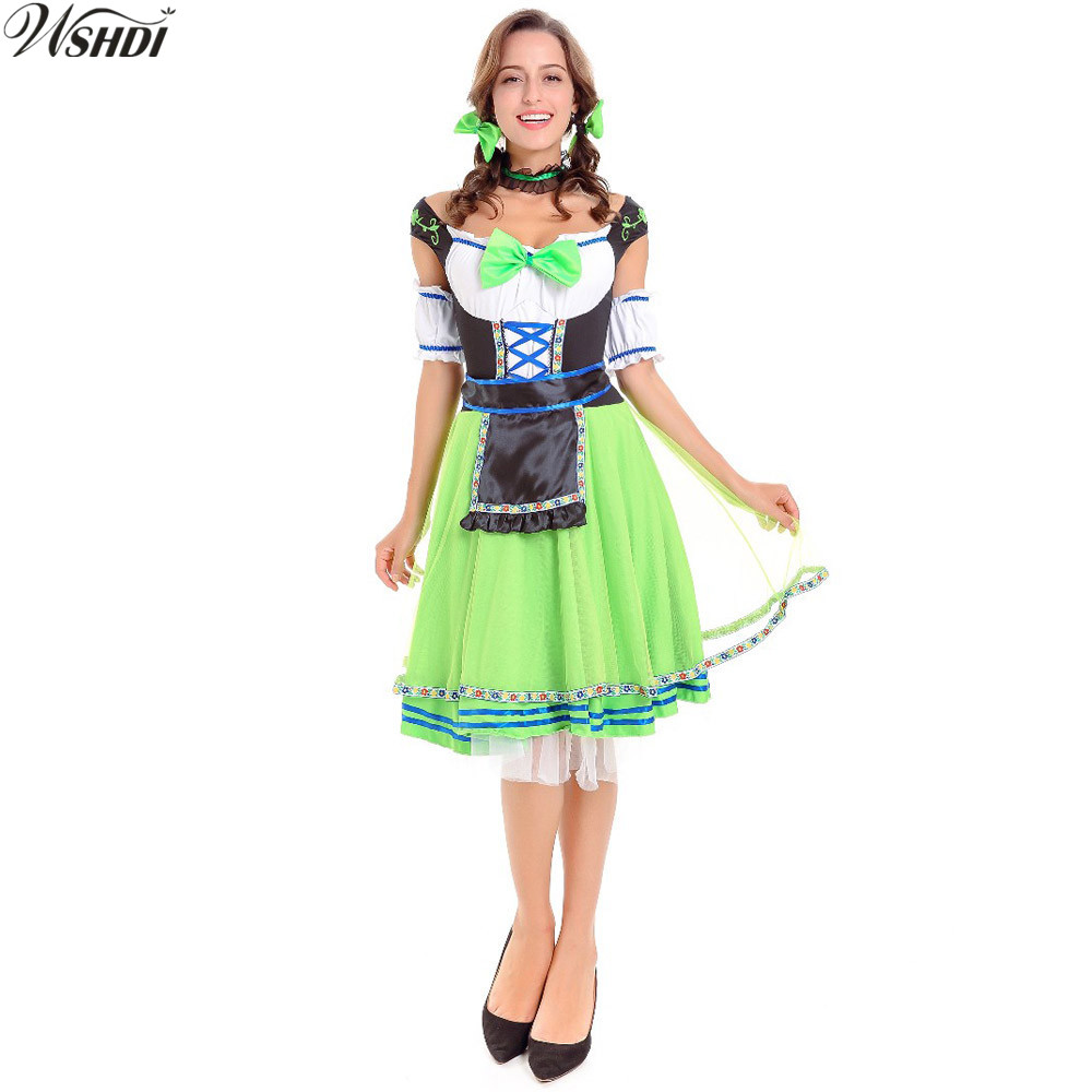 Hot Sale Womens German Wench Costume Carnaval Festival October Oktoberfest Beer Girl Dirndl Fancy Dress